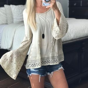 Free People Beaded Bell Sleeve Top